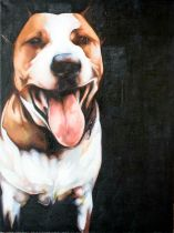 BEX BARTON (Contemporary) 'Henry, Staffordshire Bull Terrier', oil on canvas, with label verso,