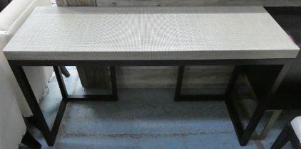 CONSOLE TABLE, 137cm x 45cm x 81cm, contemporary design, rattan top.