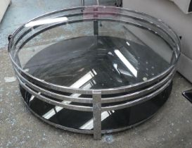 LOW TABLE, 110cm Diam x 33cm, Bauhaus style, polished metal and glass.