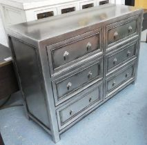 ORCHID CHEST OF DRAWERS, silver lacquered finish, 106cm x 38cm x 76cm.