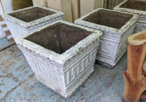 PLANTERS, a pair, 66cm sq x 60cm H, square, white composite stone, with Greek mosaic pattern.