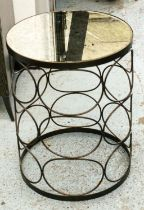 SIDE TABLE, 46cm W x 60cm H, with an antiqued mirrored top.
