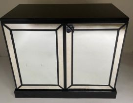 MIRROR CABINET, black lacquered with two marginal panelled mirror doors, 100cm x 85cm H x 48cm.