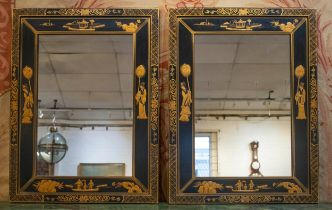 WALL MIRRORS, a pair, black and gilt Chinoiserie decorated, 66cm x 89cm H. (2)