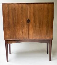 COCKTAIL CABINET, 1970's hardwood, with two panelled doors enclosing fitted lit interior, 90cm W x
