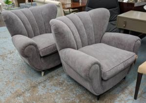 ARMCHAIRS, a pair, 105cm W, vintage mid Italian, in a later grey upholstery.