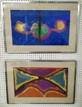 MANNER OF ADOLF HOLZEL, 'Abstract' a pair, gouache, 30cm x 50cm, framed. (2)