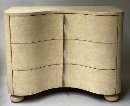 JULIAN CHICHESTER CHEST, faux shagreen serpentine fronted, three drawer, 108cm x 46cm x 95cm.