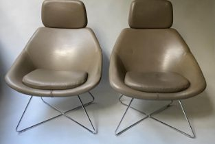 ALLERMUIR HAFELE ARMCHAIRS, a pair, in taupe leather, with X shaped chromium frames, 74cm W. (2)