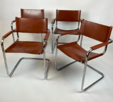 DINING ARMCHAIRS, a set of four, tan leather and cantilever chrome framed, after a design by Mart
