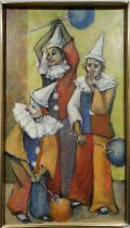 M WISHARD 'Clowns', oil on board, 60cm x 35cm, signed and dated '87, framed.