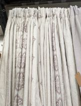 CURTAINS, a pair, 160cm W x 248cm drop, lined and interlined, geometric pattern. (2)