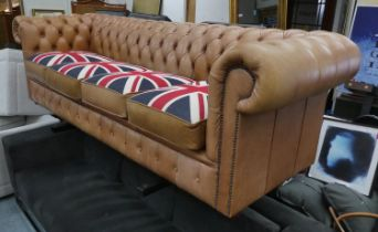 CHESTERFIELD SOFA, 73cm H x 246cm W x 90cm D, tan leather with four union jack seat cushions.