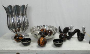 VASE, 144cm H vessel 36.5, pair of candle sticks 19cm H, two bowls 12cm diam x 6cm and six spheres