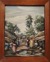 MICHAEL OBODIWE (Nigeria 1920-1986), 'Market scene', oil on canvas, 33cm x 41cm, signed and framed.