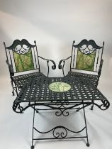 CONSERVATORY CHAIRS AND TABLE, wrought iron inlaid, with faux marble painted bamboo print, 57cm W