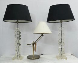 DÄR LIGHTING TABLE LAMP, 62cm H and another pair, 75cm H all with shades. (3)