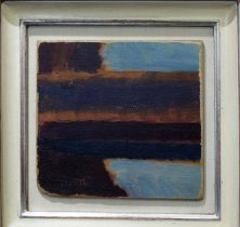 MANNER OF ADRIAN HEATH 'Abstract', oil on board, 16cm x 16cm, with signature, framed.
