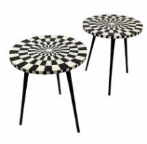 SIDE TABLES, a pair, 1970's Italian design, circular inlaid tops on tripod metal legs, 46cm H x 41cm