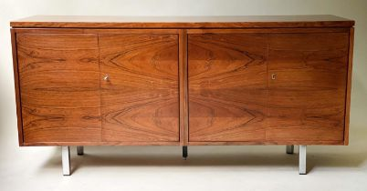 SIDEBOARD, 1970's exotic hardwood, with book matching veneer, four doors and steel supports, 152cm x