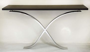 CONSOLE TABLE, Contemporary, black ash, with chrome/steel swept supports, 150cm W x 34cmcm D x