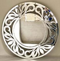 WALL MIRROR, bevelled foliate and marginal mirror plates, 119cm diam.