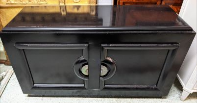 CABINET, 123cm W x 39cm D x 71cm H, mid 20th century, ebonised with two doors.