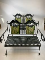 CONSERVATORY BENCHES, a pair, wrought iron inlaid, with faux marble painted, bamboo print, 116cm W x