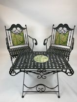 CONSERVATORY CHAIRS AND TABLE, wrought iron inlaid with faux marble painted bamboo print, 57cm W x