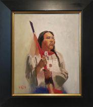 FOLLOWER OF JOSEPH HENRY SHARP 'Native American Portrait', oil on board, 40cm x 50cm, signed and