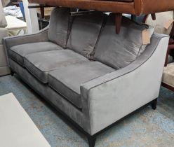 BESPOKE SOFA LONDON SOFA, 200cm x 95cm x 90cm, grey velvet upholstered.