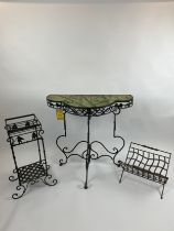 CONSERVATORY CONSOLE TABLE, wrought iron inlaid, with faux marble painted bamboo print, 85cm L x