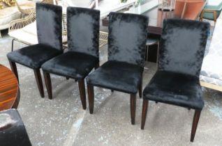 DINING CHAIRS, a set of four, macassar ebony and black velvet upholstered, 102cm H. (4)