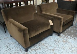ARMCHAIRS, a pair, 85cm x 88cm reupholstered in brown velvet.