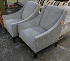ARMCHAIRS, a pair, 74cm x 84cm x 92cm, contemporary, grey velvet upholstered. (2)