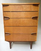 CHEST, 1960'S oak, with five long drawers and inset hardwood handles, 85cm W x 43cm x 117cm H.