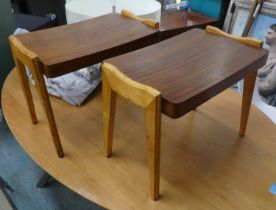 SIDE TABLES, a pair, each 55cm W x 47cm H x 34cm D, 1940s Italian rosewood and birchwood. (2)