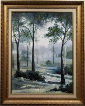 MID 20th CENTURY SCHOOL, 'Misty Morning', oil on canvas, 60cm x 45cm, label verso, framed.