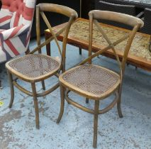 DINING CHAIRS, a set of six, 1920s French café style, 89cm H. (6)
