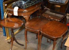 MAHOGANY FOLD OVER TABLE, NEST OF TABLES & 3 MAHOGANY OCCASIONAL TABLES