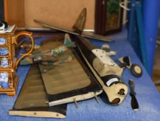 WOODEN RAF CRATE WITH LARGE MODEL AEROPLANE & VARIOUS SMALL MODEL PLANES