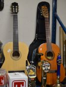 2 ACOUSTIC GUITARS, 1 WITH CARRY CASE
