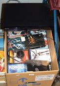 SAMSUNG DVD PLAYER & BOX WITH VARIOUS DVDS