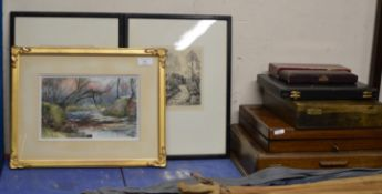 VARIOUS PART CANTEENS OF CUTLERY, SMALL FRAMED WATERCOLOUR SIGNED MCNICOL & 2 ETCHINGS