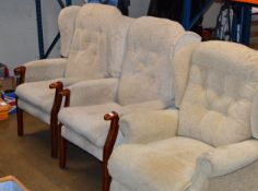 PAIR OF WING BACK ARM CHAIRS & SINGLE RECLINING ARM CHAIR