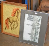 2 LOWRY PRINTS & 2 RETRO FRAMED HORSE PICTURES