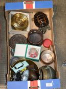BOX CONTAINING BAROMETER, VARIOUS MODEL VEHICLES, PAPER WEIGHT & GENERAL BRIC-A-BRAC