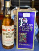 PINWHINNIE 12 YEAR OLD WHISKY WITH BOX & FERGUSON CANADIAN SPIRIT
