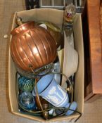 BOX CONTAINING COPPER FINISHED LAMP, WEDGWOOD VASE, PAPER WEIGHT, CANDLE STICKS, GLASS DISH ETC