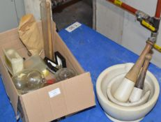 BOX WITH VARIOUS GLASS CHEMIST STYLE JARS, HIP FLASK, MORTAR & PESTLE MARKED WEDGWOOD ETC